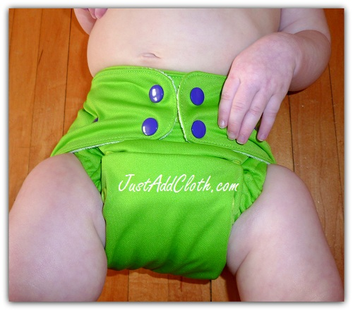 Funky Fluff cloth diaper on infant