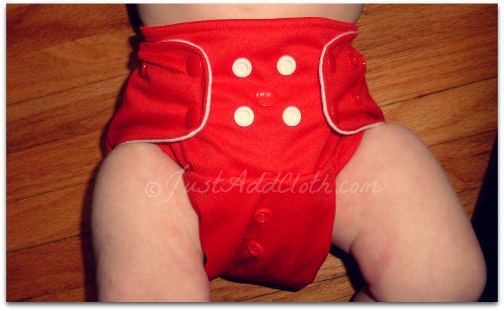 lala baby cloth diaper on baby