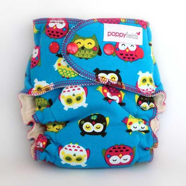 poppy fields fitted cloth diaper owls