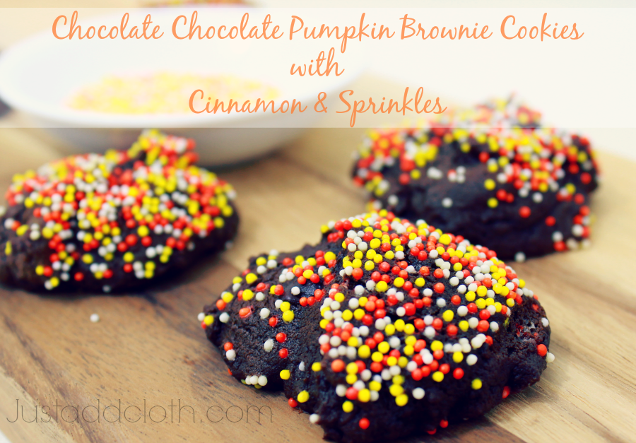 Chocolate Chocolate Pumpkin Brownie Cookies with Cinnamon & Sprinkles 2