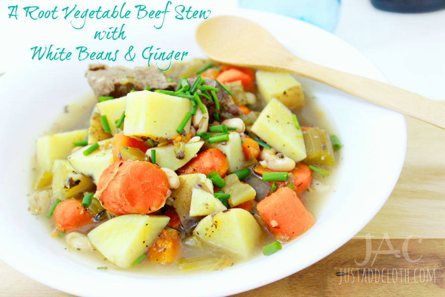 A Root Vegetable Beef Stew with White Beans & Ginger 2