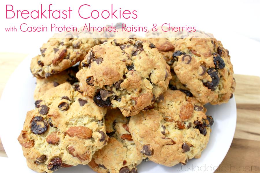 Breakfast Cookies with Casein Protein, Almonds, Raisins, & Cherries
