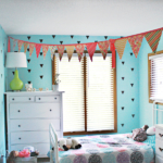 Girl Room Decor Upgrade: Blinds, Pom Poms & Triangles